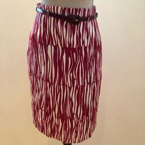 NWOT MAX MARA Red/Ivy FlaxLinen Knee LGTH Skirt 4